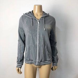 BCBGmaxazria gray embellished full zip hoodie
